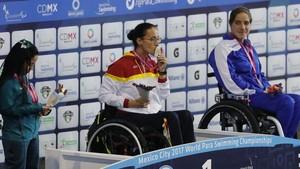 Teresa Perales, en el podio de México