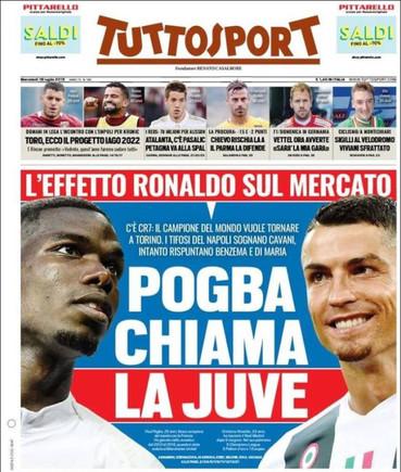 La portada de Tuttosport de este 18 de julio