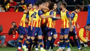 Catalunya celebrando uno de los goles en Montilivi