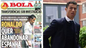 Cristiano Ronaldo quiere irse de España, según A Bola