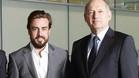 Fernando Alonso y Ron Dennis, en la presentación del asturiano como piloto oficial de McLaren para 2015