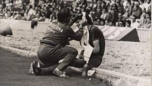 Filosia, atendido en la banda del Camp Nou