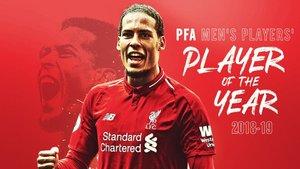 El Liverpool felicitó a Van Dijk por ser elegido Jugador del Año de la Premier por la PFA