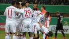 Los jugadores del Bayern celebran el 0-1 de Coman. Luego caerían más goles