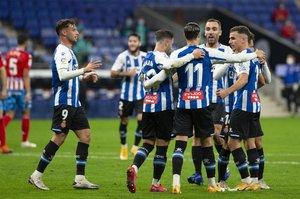 Los jugadores del Espanyol celebran un gol en una imagen de archivo