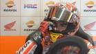 Marc Márquez, en el box de Honda