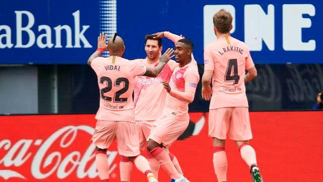 Messi puso el empate en Ipurua con una magnífica asistencia de Arturo Vidal