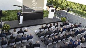 El presidente del RACC, Josep Mateu, durante el acto de homenaje a Sebastià Salvadó