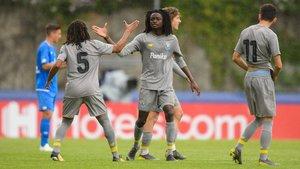 Romario Baró, celebrando su gol ante el Hoffenheim