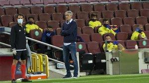 Setién, durante el choque disputado en Barcelona