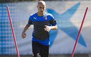 Tejera, durante un entrenamiento con el Espanyol