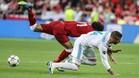 Una acción que marcó la final de Kiev. Momento en el que Sergio Ramos dejó fuera de combate a Mo Salah