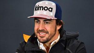 Alonso, sonriente durante la rueda de prensa en Austin