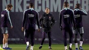 Ernesto Valverde, en la sesión vespertina previa al partido en León