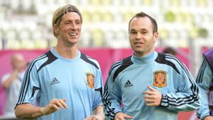 Fernando Torres y Andrés Iniesta coincidieron en la selección española