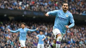 Gundogan celebrando su gol ante el Aston Villa