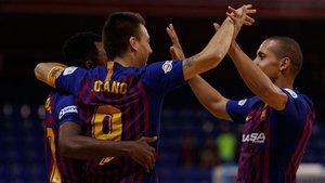 Los azulgrana celebrando un gol en el último partido celebrado en el Palau