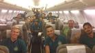 Los jugadores del Chapecoense colgaron una foto en la redes sociales dentro del avión