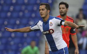 Lucas Vázquez, celebrando un gol con el Espanyol