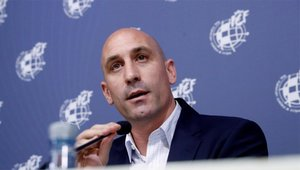 Luis Rubiales, presidente de la RFEF, en una rueda de prensa