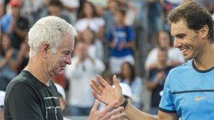 McEnroe y Nadal, en una exhibición en Manacor en el año 2016