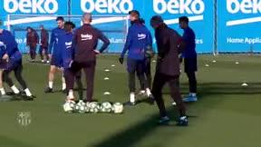 Messi y Quique Setién se lo pasaron en grande en el entrenamiento
