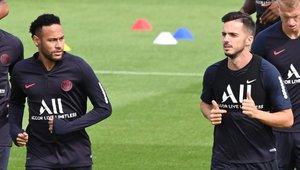 Neymar y Sarabia, juntos en un entrenamiento del PSG