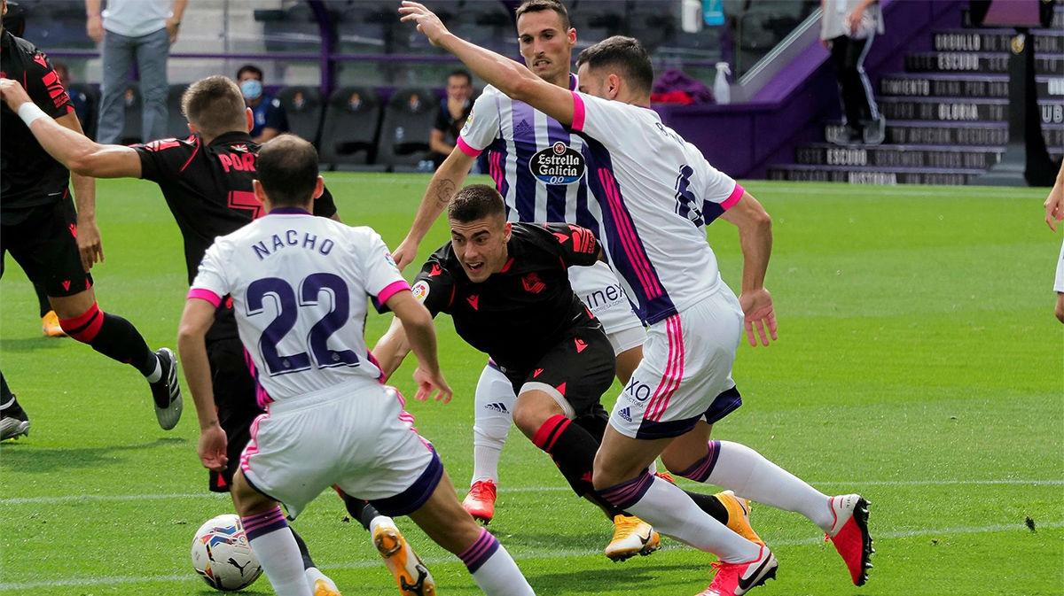 La Real Sociedad consigue puntuar ante el Valladolid gracias a un error de Masip