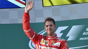 Vettel, en el podio