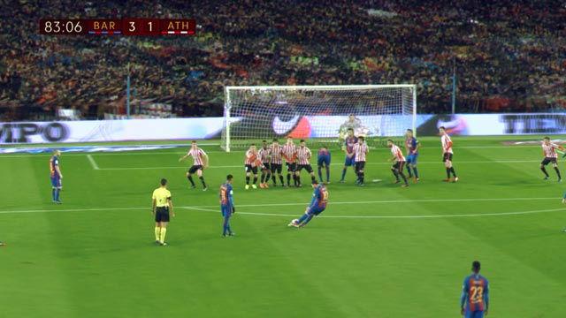 Vídeo Resumen de la falta magistral de Leo Messi contra el Athletic en 360 grados