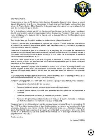 La carta del FC CBG dirigida a Adrien Rabiot