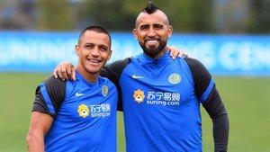 Alexis y Arturo, en el entrenamiento del Inter