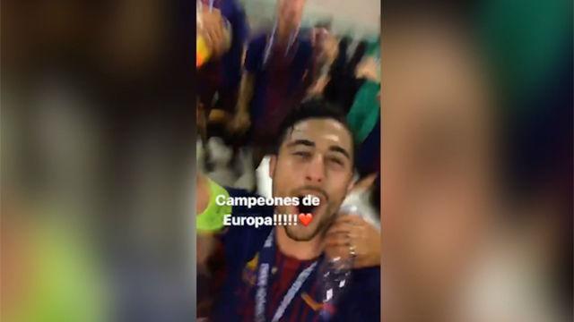 La emocionante celebración del Barça en el vestuario