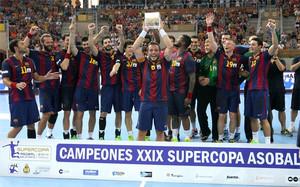 Los jugadores del Barça, celebrando el título