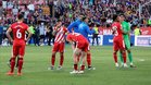 Los jugadores del Girona tras perder contra el Levante
