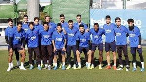 Los 16 representantes del filial azulgrana que este miércoles estarán en el amistoso benéfico entre el Cartagena y el Barça