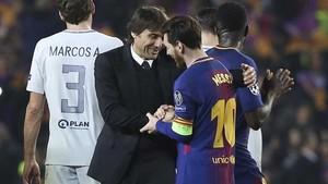 Messi y Conte hablaron tras la finalización del Barça - Chelsea