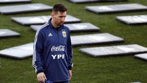 Messi durante el entrenamiento de Valdebebas