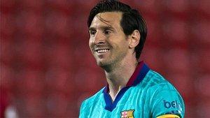 Messi, durante el partido en Mallorca