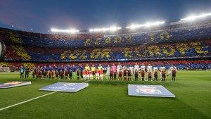 El mosaico del FC Barcelona - Liverpool en la ida de semifinales de Liga de campeones.
