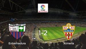 El Almería logra una trabajada victoria frente al Extremadura UD (1-2)