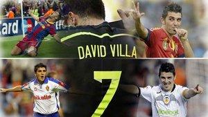 David Villa se ha hinchado a goles en todas partes: Zaragoza, Valencia, Barcelona...