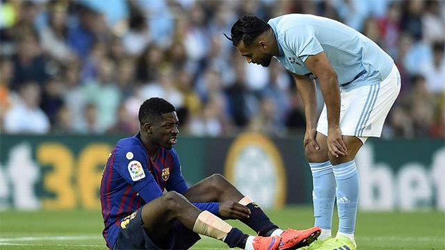 Dembélé se lesionó y puede perderse el partido ante el Liverpool
