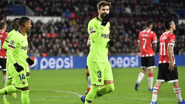 ¿Estaba ensayado? PIqué cazó el lanzamiento de Messi