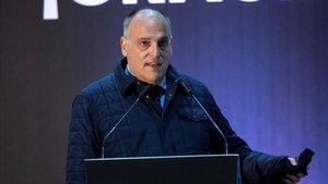 Javier Tebas en una conferencia de prensa