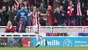 Jesé solo ha podido celebrar un gol en toda la temporada con el Stoke