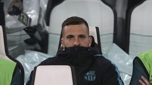 Jordi Alba empezó el partido ante el Villarreal como suplente
