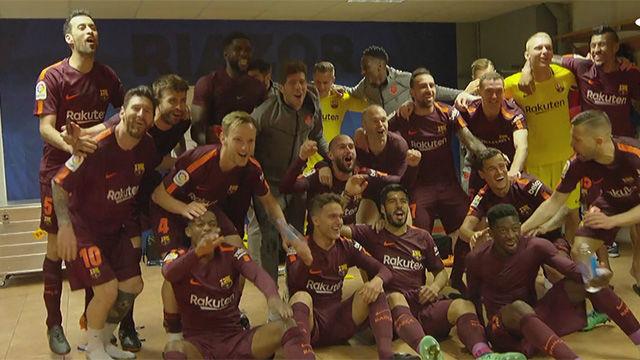 LALIGA | La loca celebración del Barça en el vestuario