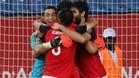 Los jugadores egipcios, celebrando el pase a semifinales tras su sufrida victoria ante Marruecos