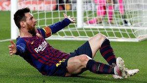 Messi celebra uno de los tantos al Liverpool el pasado mes de mayo